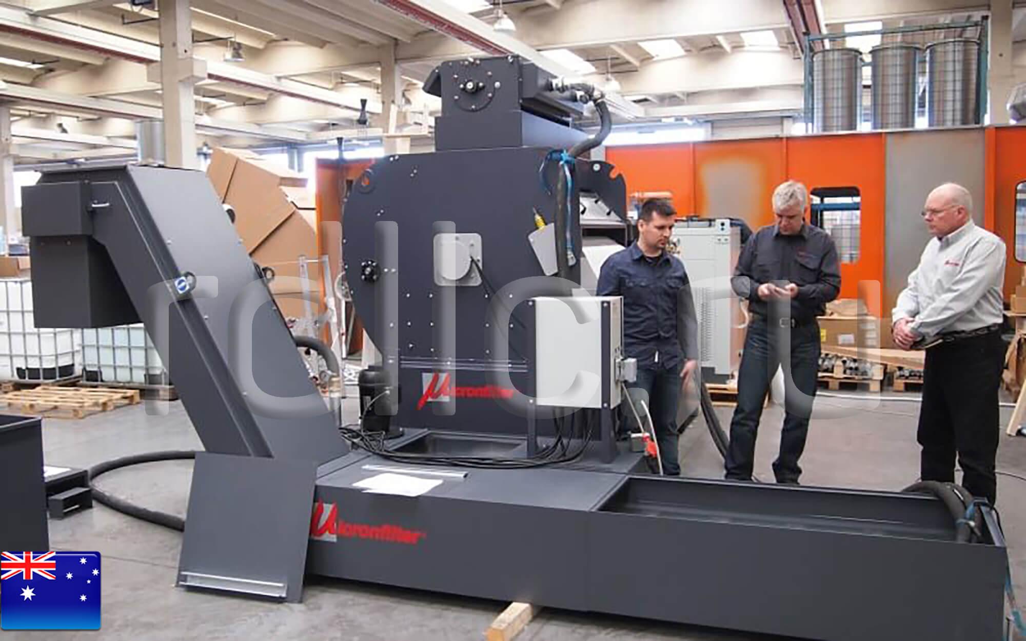 Оснащение станка глубокого сверления станцией очистки СОЖ (установка фильтрации СОЖ гравитационного типа Maxflow | магнитный сепаратор СОЖ Kalamit)