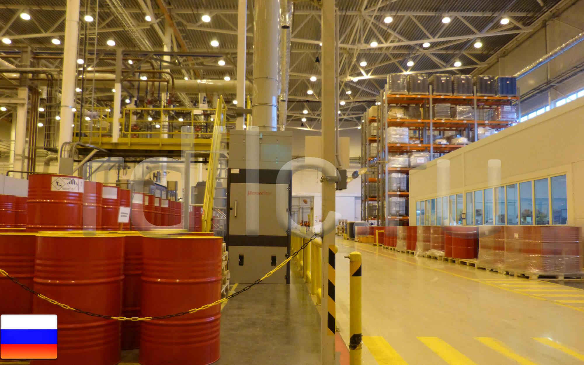 Централизованная система удаления масляного тумана в цехе розлива готовых масел (установка фильтрации масляного тумана Ecotech 6000 с абсолютным фильтром окончательной очистки HEPA H13)