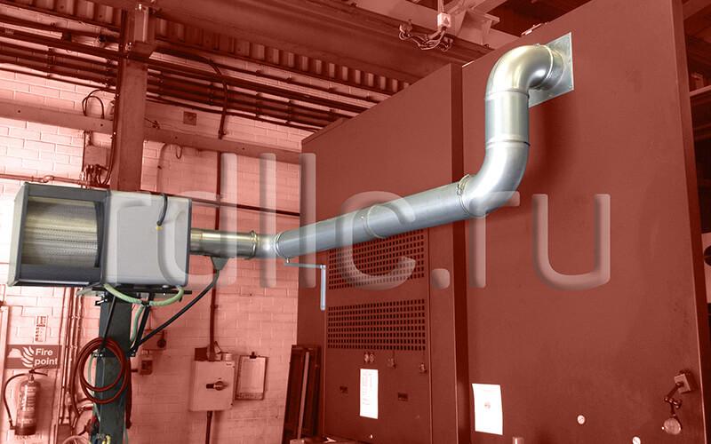 Размещение фильтра удаления масляного тумана (паров СОЖ) Kube 2000 на стойке (горизонтальная установка | жесткая подводка | абсолютный фильтр окончательной очистки HEPA H13)