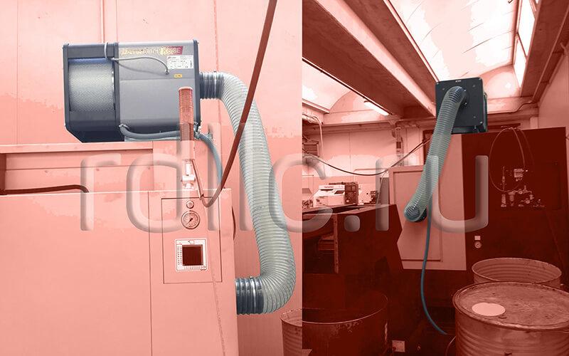 Размещение фильтра удаления масляного тумана (паров СОЖ) Kube на кабине станка (горизонтальная установка | гибкая подводка | абсолютный фильтр окончательной очистки HEPA H13)