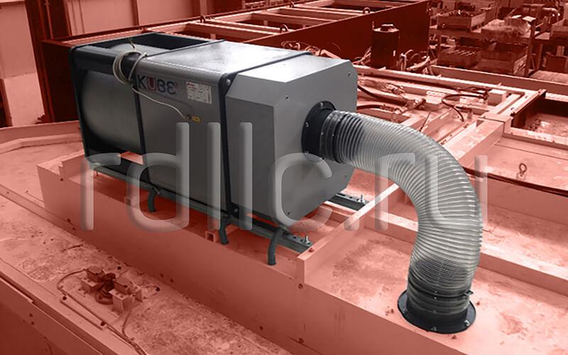 Размещение фильтра удаления масляного тумана (паров СОЖ) Kube на кабине станка (горизонтальная установка | гибкая подводка | абсолютный фильтр окончательной очистки HEPA H13 | модуль предварительной фильтрации)