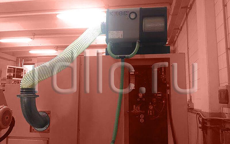 Размещение фильтра удаления масляного тумана (паров СОЖ) Kube на кабине станка (горизонтальная установка | комбинированная подводка | абсолютный фильтр окончательной очистки HEPA H13)