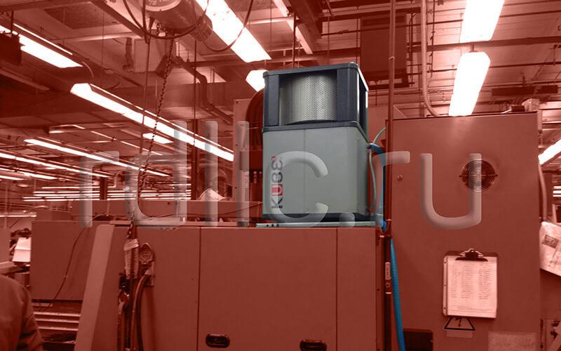 Размещение фильтра удаления масляного тумана (паров СОЖ) Kube на кабине станка (вертикальная установка | абсолютный фильтр окончательной очистки HEPA H13)