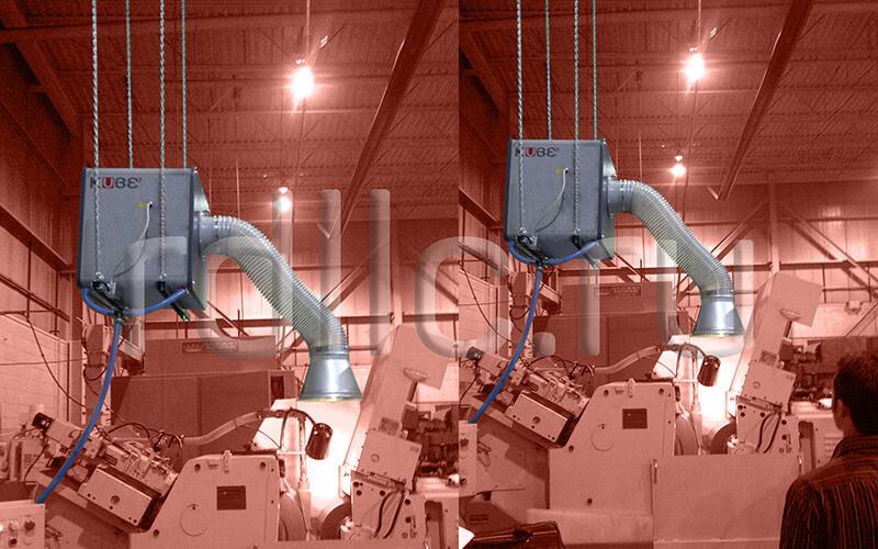 Применение фильтра удаления масляного тумана (паров СОЖ) Kube на универсальном станке (горизонтальная установка | размещение на цепях | вытяжной рукав)