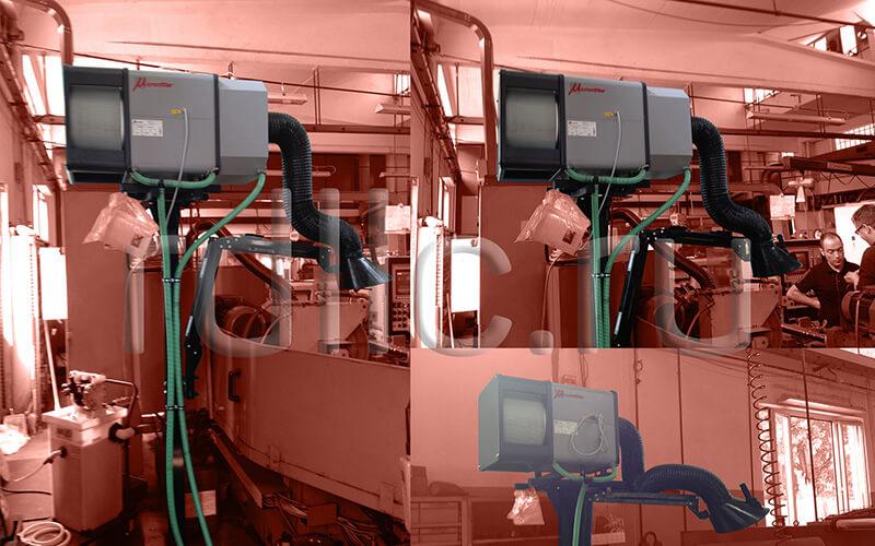 Применение фильтра удаления масляного тумана (паров СОЖ) Kube на универсальном станке (горизонтальная установка | размещение на стойке | вытяжной рукав | абсолютный фильтр окончательной очистки HEPA H13)